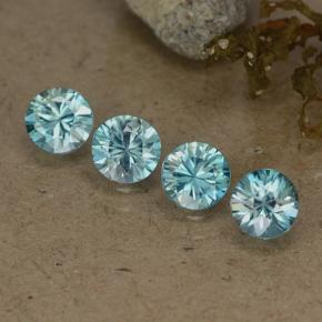 Blue Zircon Gem - 0.6ct Diamond-Cut (ID: 484707)