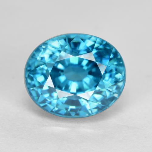 Blue Zircon Gem - 5.7ct Oval Facet (ID: 487224)