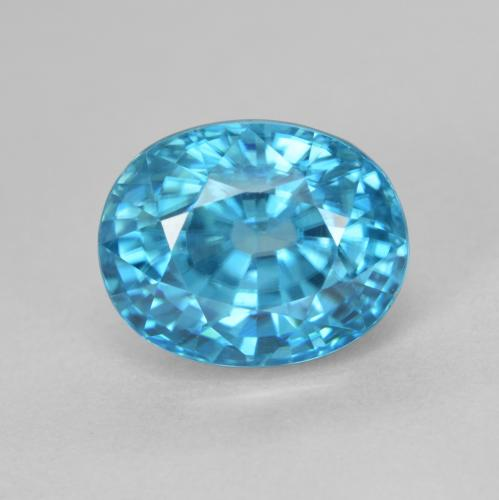 Blue Zircon Gem - 5.2ct Oval Facet (ID: 487228)