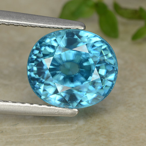 Blue Zircon Gem - 5.5ct Oval Facet (ID: 487232)