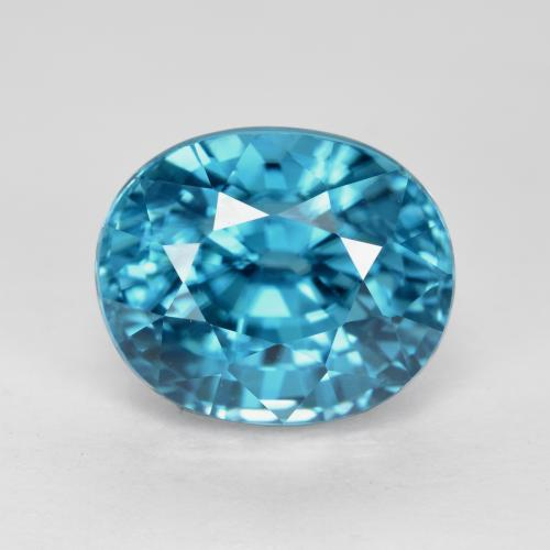 Electric Blue Zircone Gem - 5.2ct Ovale sfaccettato (ID: 487516)
