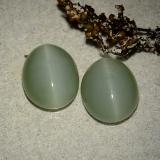 5.32 ct Oval Cabochon Medium-Light Green Actinolite Cat's Eye Gem 13.29 mm x 10.8 mm (Photo B)