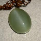 6.88 ct Oval Cabochon Medium Green Actinolite Cat's Eye Gem 14.47 mm x 11.3 mm (Photo C)