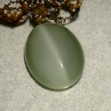 6.10 ct Oval Cabochon Earthy Green Actinolite Cat's Eye Gem 13.71 mm x 10.9 mm (Photo C)