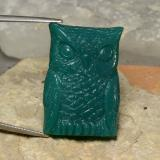 thumb image of 39.6ct Carved Owl Green Agate (ID: 353467)