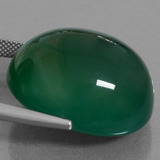 47.35 ct Oval Cabochon Green Agate Gem 24.68 mm x 21.4 mm (Photo C)