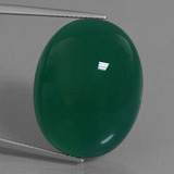 thumb image of 36.7ct Oval Cabochon Green Agate (ID: 456900)