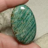 thumb image of 63.2ct Oval Cabochon Blue-Green Amazonite (ID: 484794)