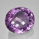 81.12 ct Forma de Tablero de Ajedrez Óvalo Medium Pinkish Violet Amatista Gema 29.08 mm x 25.8 mm (Foto B)