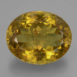 thumb image of 23.3ct Oval Facet Greenish Golden Apatite (ID: 407386)