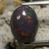 thumb image of 1.2ct Oval Cabochon Multicolor Black Opal (ID: 473636)