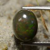 thumb image of 1.7ct Oval Cabochon Multicolor Black Opal (ID: 473684)