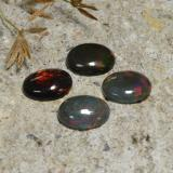 0.81 ct Oval Cabochon Multicolor Black Opal Gem 8.82 mm x 7 mm (Photo C)