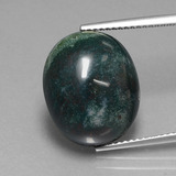 thumb image of 13.3ct Oval Cabochon Spotted Green Bloodstone (ID: 408407)