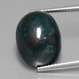thumb image of 13.3ct Oval Cabochon Spotted Green Bloodstone (ID: 408519)