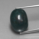 thumb image of 10.4ct Oval Cabochon Spotted Green Bloodstone (ID: 408644)