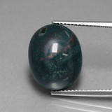 thumb image of 12.7ct Oval Cabochon Spotted Green Bloodstone (ID: 408648)