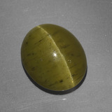 thumb image of 6.2ct Oval Cabochon Golden Green Cat's Eye Apatite (ID: 419225)