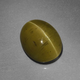 thumb image of 5.3ct Oval Cabochon Golden Green Cat's Eye Apatite (ID: 419227)