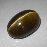 thumb image of 20.3ct Oval Cabochon Golden Green Cat's Eye Apatite (ID: 419415)