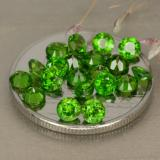 0.14 ct Facette ronde Medium-Dark Green Diopside Chrome gemme 3.18 mm  (Photo B)