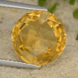 thumb image of 4.4ct Round Drilled Checkerboard (Double Sided) Yellow Golden Citrine (ID: 477363)