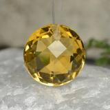 thumb image of 4.5ct Round Drilled Checkerboard (Double Sided) Yellow Golden Citrine (ID: 477476)