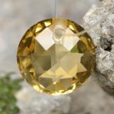 thumb image of 4.5ct Round Drilled Checkerboard (Double Sided) Yellow Golden Citrine (ID: 477490)