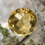 thumb image of 4.4ct Round Drilled Checkerboard (Double Sided) Deep Yellow Citrine (ID: 477491)