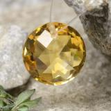 thumb image of 4.5ct Round Drilled Checkerboard (Double Sided) Yellow Golden Citrine (ID: 477497)