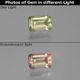 thumb image of 0.7ct Octagon Facet Green/Pink Color-Change Diaspore (ID: 389349)