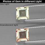 thumb image of 0.6ct Square Facet Green/Pink Color-Change Diaspore (ID: 390149)