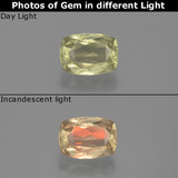 thumb image of 1.2ct Cushion-Cut Very Light Yellow Color-Change Diaspore (ID: 391629)