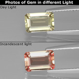 thumb image of 1.1ct Octagon Facet Green/Pink Color-Change Diaspore (ID: 395411)