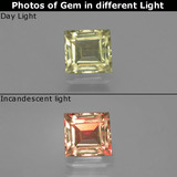 thumb image of 0.9ct Square Facet Green/Pink Color-Change Diaspore (ID: 396486)