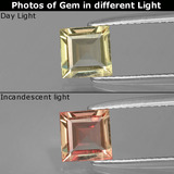 thumb image of 0.9ct Square Facet Green/Pink Color-Change Diaspore (ID: 396548)