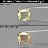 thumb image of 1.1ct Square Facet Green/Pink Color-Change Diaspore (ID: 397191)