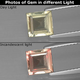thumb image of 1ct Square Facet Green/Pink Color-Change Diaspore (ID: 397490)