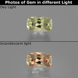 thumb image of 1.1ct Cushion-Cut Light Yellow Color-Change Diaspore (ID: 398423)