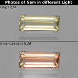 thumb image of 1.8ct Baguette Facet Yellow Green Color-Change Diaspore (ID: 398473)
