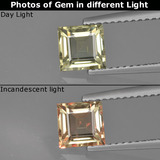 thumb image of 1ct Square Facet Green/Pink Color-Change Diaspore (ID: 411364)