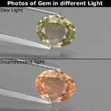 thumb image of 0.9ct Oval Facet Green/Pink Color-Change Diaspore (ID: 437348)