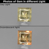 thumb image of 0.8ct Square Facet Green/Pink Color-Change Diaspore (ID: 437413)