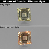 thumb image of 0.6ct Square Facet Green/Pink Color-Change Diaspore (ID: 437563)