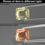 thumb image of 1ct Octagon Facet Very Light Yellow Color-Change Diaspore (ID: 439680)