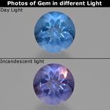 thumb image of 11.7ct Round Facet Violet-Blue Color-Change Fluorite (ID: 413704)