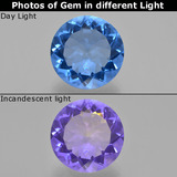 thumb image of 12.6ct Round Facet Violet-Blue Color-Change Fluorite (ID: 413734)