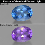 thumb image of 23.3ct Oval Facet Violet-Blue Color-Change Fluorite (ID: 413906)