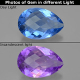thumb image of 32.6ct Pear Checkerboard Violet-Blue Color-Change Fluorite (ID: 413911)
