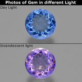 thumb image of 10ct Round Facet Violet-Blue Color-Change Fluorite (ID: 414407)
